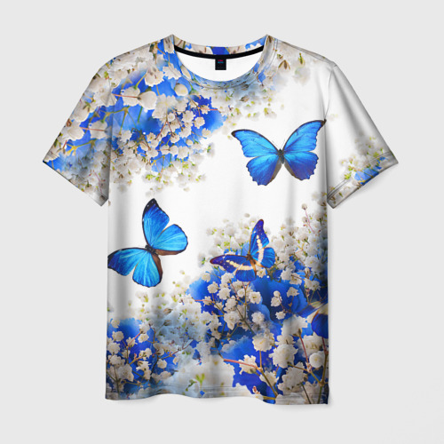 Мужская 3D футболка Butterfly | Blue White