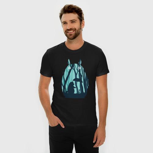 Мужская футболка премиум с принтом Totoro, фото на моделе #1