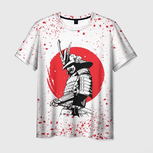 Мужская 3D футболка САМУРАЙ В КАПЛЯХ КРОВИ   SAMURAI IN DROPS OF BLOOD (Z)