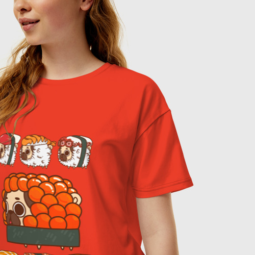 Женская футболка oversize с принтом Мопс и роллы, фото на моделе #1