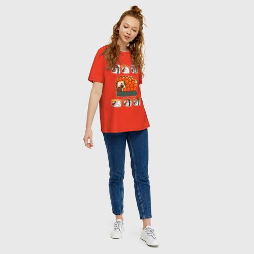 Женская футболка oversize с принтом Мопс и роллы, вид сбоку #3