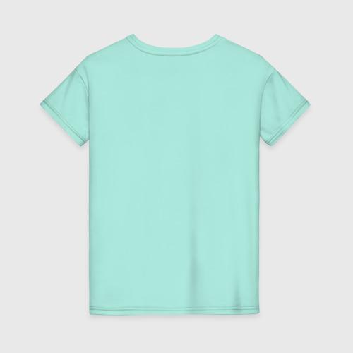 Женская футболка с принтом Пухлый попугайчик, вид сзади #1
