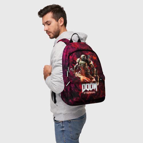 Рюкзак 3D с принтом Doom Eternal   Дум Этернал, фото на моделе #1