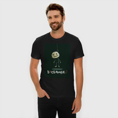 Мужская футболка премиум с принтом Висельчак, фото на моделе #1