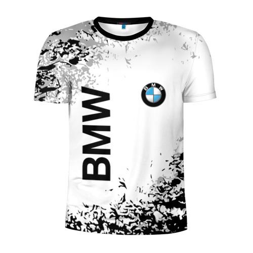 Мужская футболка 3D спортивная с принтом BMW, вид спереди #2