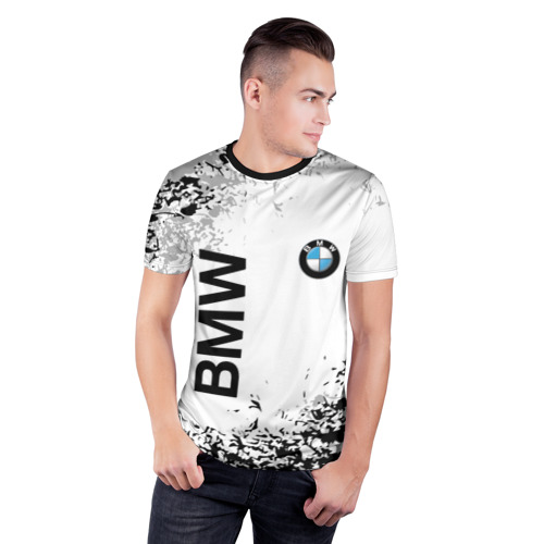 Мужская футболка 3D спортивная с принтом BMW, фото на моделе #1