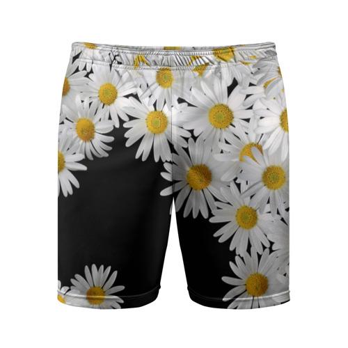 Мужские шорты 3D спортивные с принтом Ромашковая россыпь, вид спереди #2