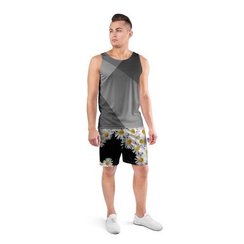 Мужские шорты 3D спортивные с принтом Ромашковая россыпь, вид сбоку #3