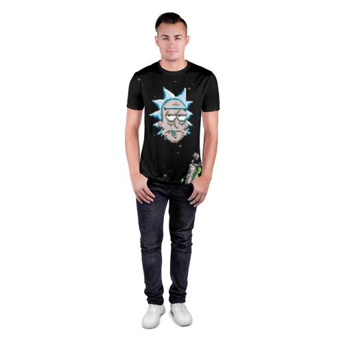 Мужская футболка 3D спортивная с принтом Drunk Rick, вид сбоку #3