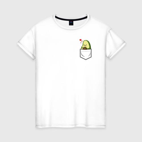 Женская футболка с принтом Авокадо в кармане, вид спереди #2
