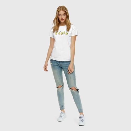 Женская футболка с принтом Спортивные авокадо, вид сбоку #3
