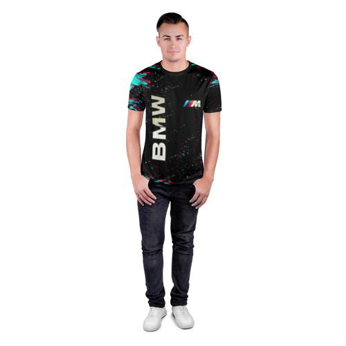 Мужская футболка 3D спортивная с принтом BMW, вид сбоку #3