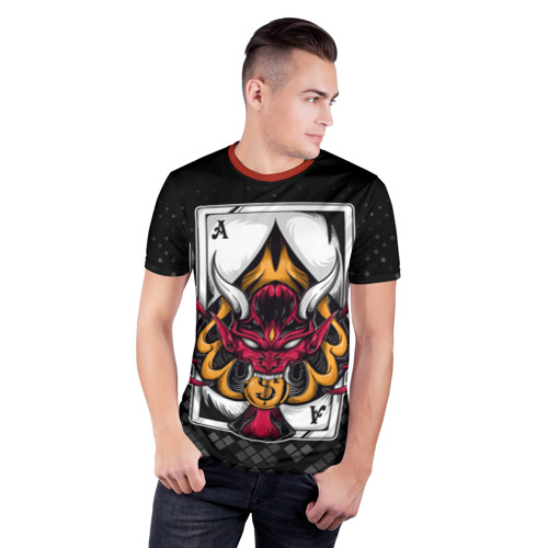 Мужская футболка 3D спортивная с принтом Карточный дьявол (Пиковый туз), фото на моделе #1