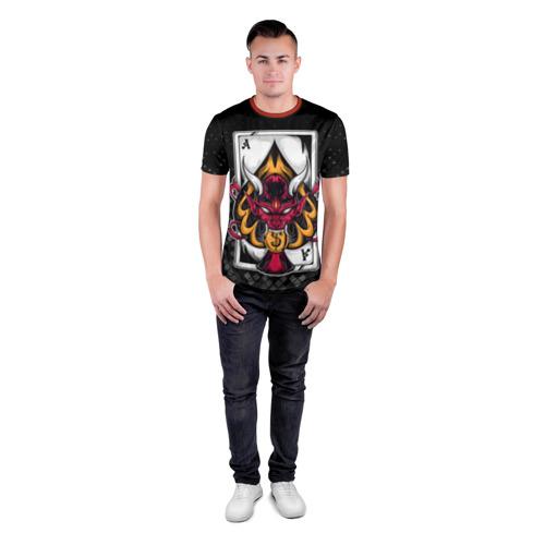 Мужская футболка 3D спортивная с принтом Карточный дьявол (Пиковый туз), вид сбоку #3
