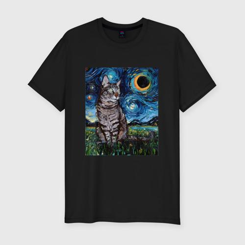 Мужская футболка премиум с принтом Кот Ван Гога, вид спереди #2