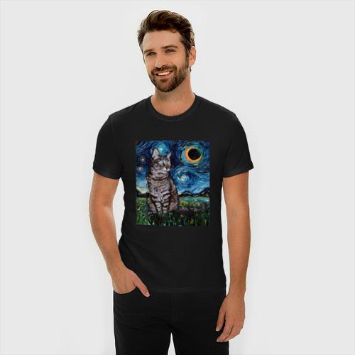 Мужская футболка премиум с принтом Кот Ван Гога, фото на моделе #1
