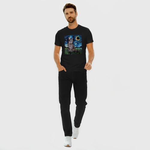 Мужская футболка премиум с принтом Кот Ван Гога, вид сбоку #3