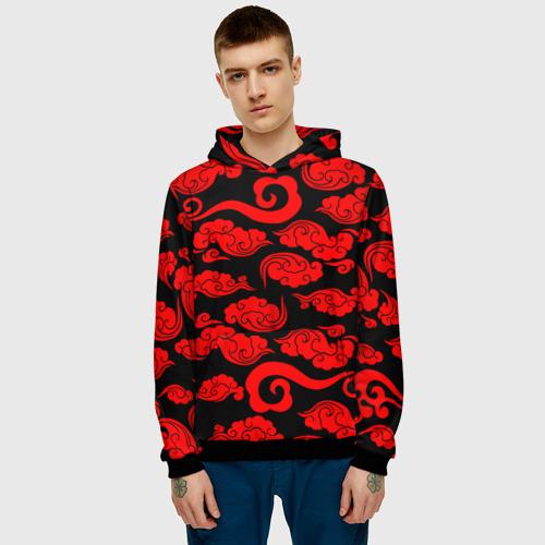 Мужская 3D толстовка с принтом Плотные красные облака АКАЦУКИ, фото на моделе #1
