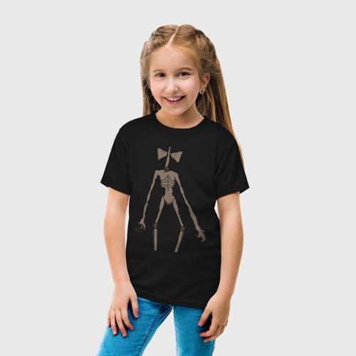 Детская футболка с принтом Сиреноголовый монстр, вид сбоку #3