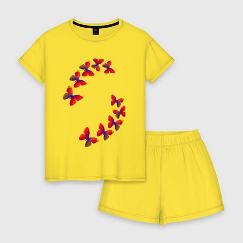 Женская пижама с шортиками хлопок Бабочки