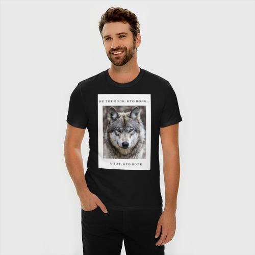 Мужская футболка премиум с принтом Волк, фото на моделе #1