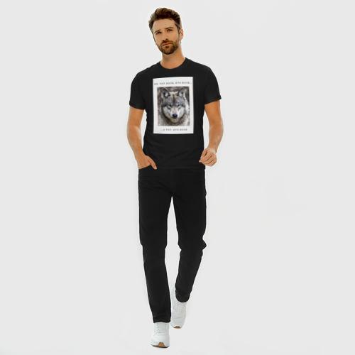 Мужская футболка премиум с принтом Волк, вид сбоку #3