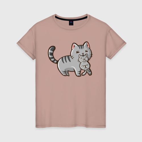 Женская футболка Мама кошка с котенком