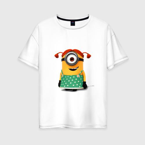Женская футболка oversize с принтом Миньон, вид спереди #2