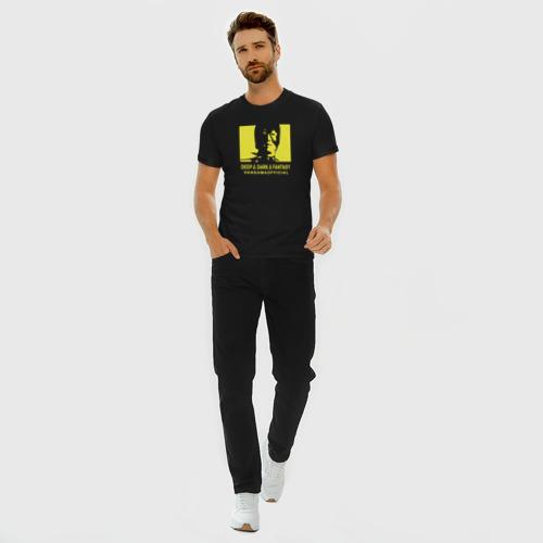 Мужская футболка премиум с принтом VANSAMA OFFICIAL Yellow, вид сбоку #3
