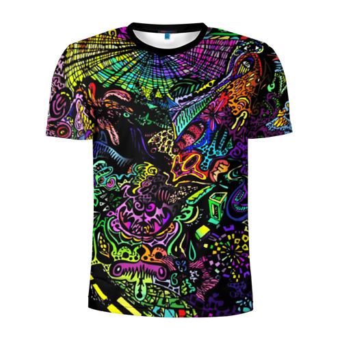 Мужская футболка 3D спортивная с принтом PSYHODELIC, вид спереди #2