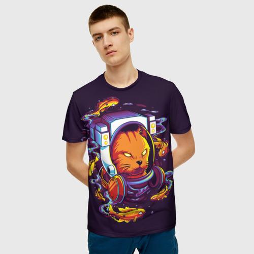 Мужская 3D футболка с принтом Техно Кот, фото на моделе #1