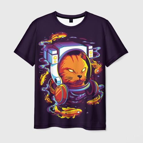 Мужская 3D футболка с принтом Техно Кот, вид спереди #2