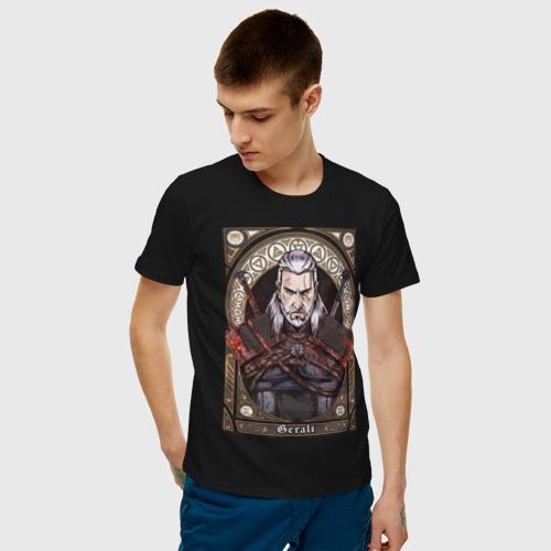Мужская футболка с принтом The Witcher, Geralt, Ведьмак,, фото на моделе #1