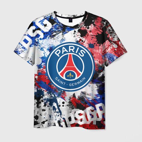 Мужская 3D футболка с принтом PSG FC, вид спереди #2