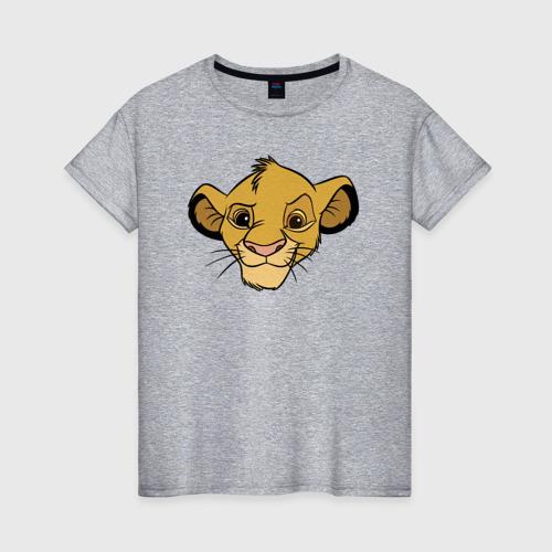 Женская футболка с принтом Львенок Симба, вид спереди #2
