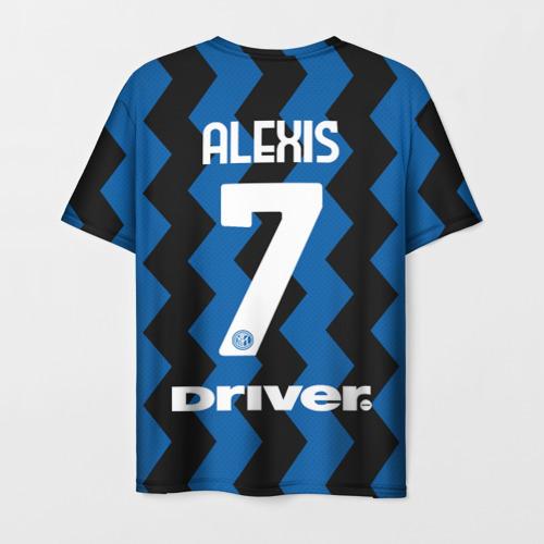 Мужская 3D футболка с принтом Алексис Санчес 20/21 Интер, вид сзади #1