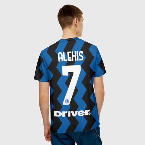 Мужская 3D футболка с принтом Алексис Санчес 20/21 Интер, вид сзади #2