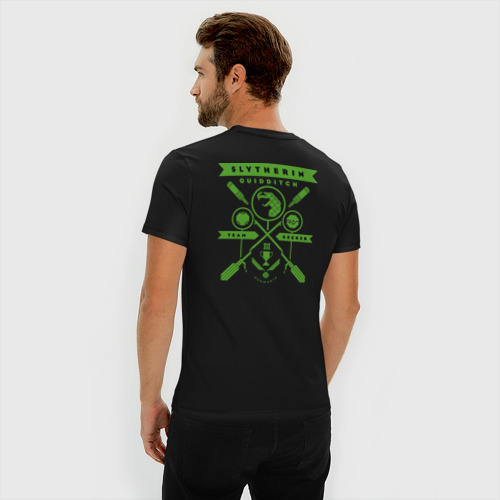 Мужская футболка премиум с принтом Slytherin Quidditch, вид сзади #2