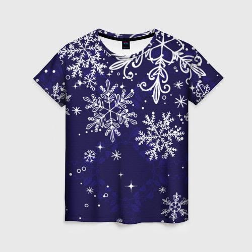 Женская 3D футболка Новогодние снежинки