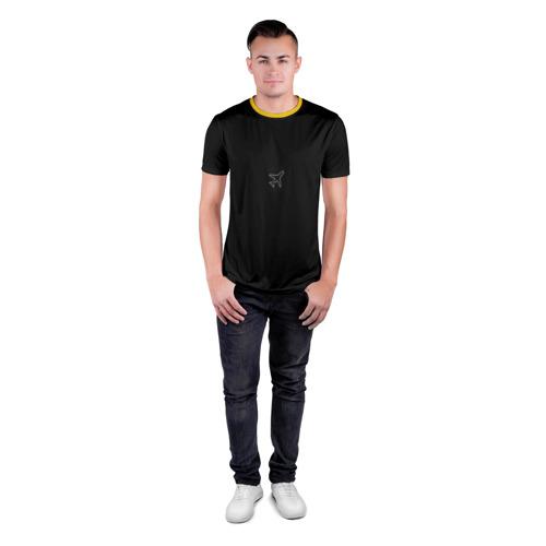 Мужская футболка 3D спортивная с принтом Минимализм самолет, вид сбоку #3