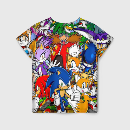 Детская 3D футболка с принтом Sonic, вид сзади #1