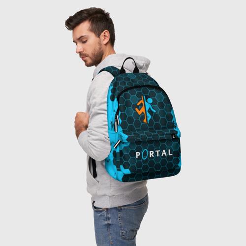 Рюкзак 3D с принтом PORTAL / ПОРТАЛ, фото на моделе #1