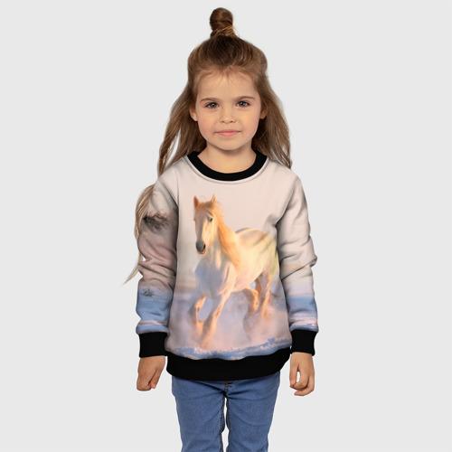 Детский 3D свитшот с принтом Белая лошадь, фото #4