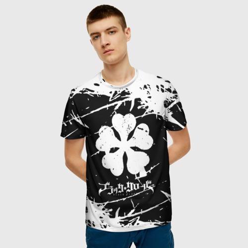 Мужская 3D футболка с принтом Черный клевер, фото на моделе #1