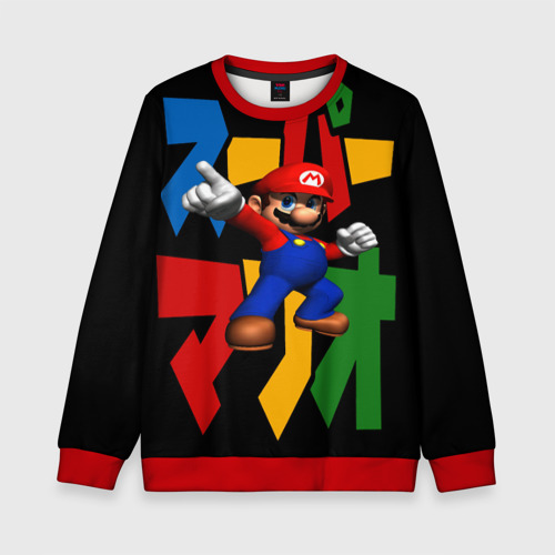 Детский 3D свитшот с принтом Mario, вид спереди #2