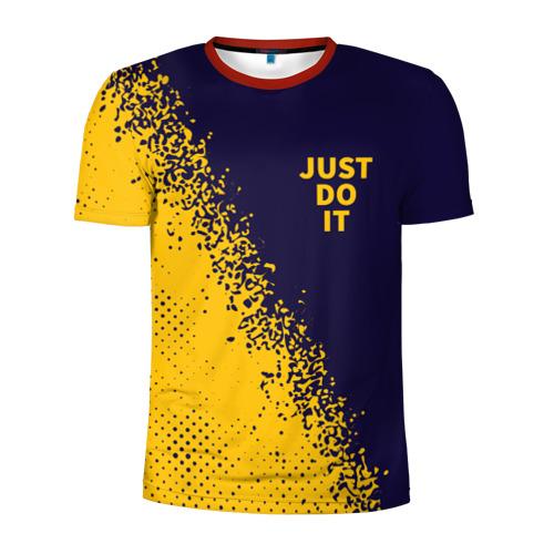 Мужская футболка 3D спортивная с принтом JUST DO IT, вид спереди #2