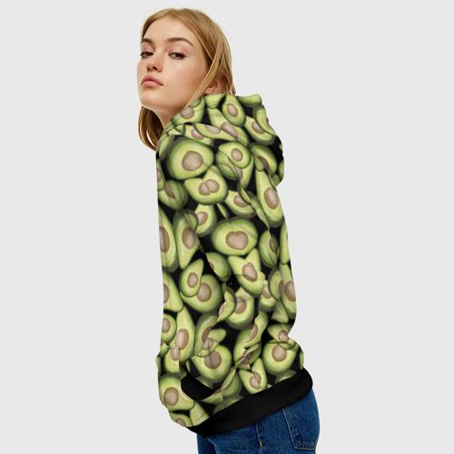 Женская 3D толстовка с принтом Авокадо, вид сбоку #3