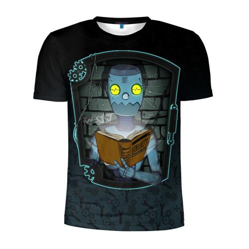 Мужская футболка 3D спортивная с принтом Робот и книга Гуманности, вид спереди #2