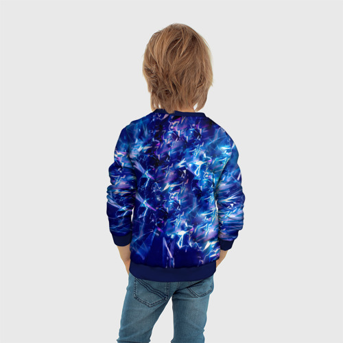 Детский 3D свитшот с принтом Итачи на фоне синих брызг, вид сзади #2