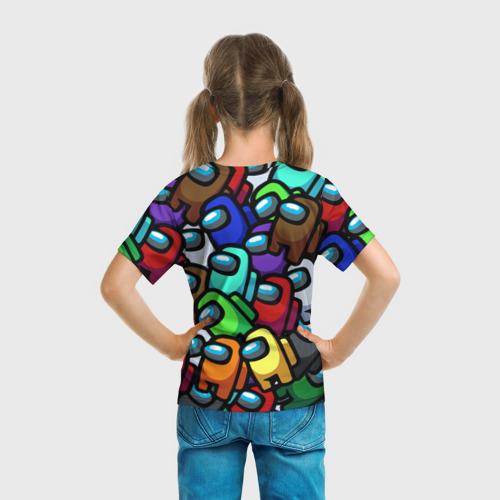 Детская 3D футболка с принтом Among us, вид сзади #2